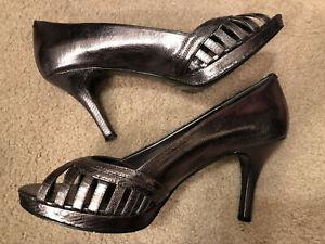 Nine-West-Women-039-s-shoes-high-heels-Vawn-Silver-size-11M