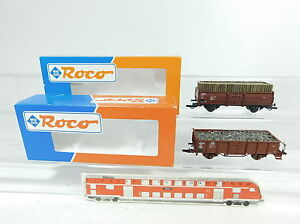 BB63-0-5-2x-Roco-H0-DC-46010-Hochbordwagen-mit-Ladung-DB-NEM-46619-46010-OVP