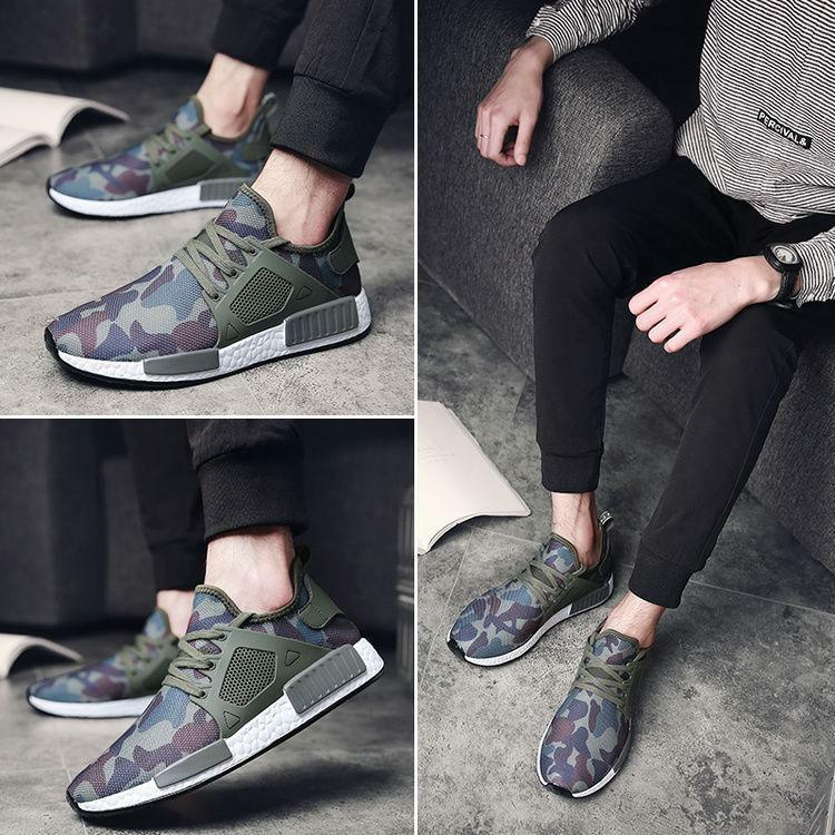 New Men's outdoor  lace up tennis Camo Athletic Sneakers Breathable casual shoes