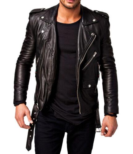 Homme Authentique Slim Vrai Veste en Cuir Noir Motard Veste moto