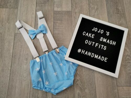 Handmade.prop Baby Boys 1st Birthday Cake Smash Outfit Blue/&white Stars