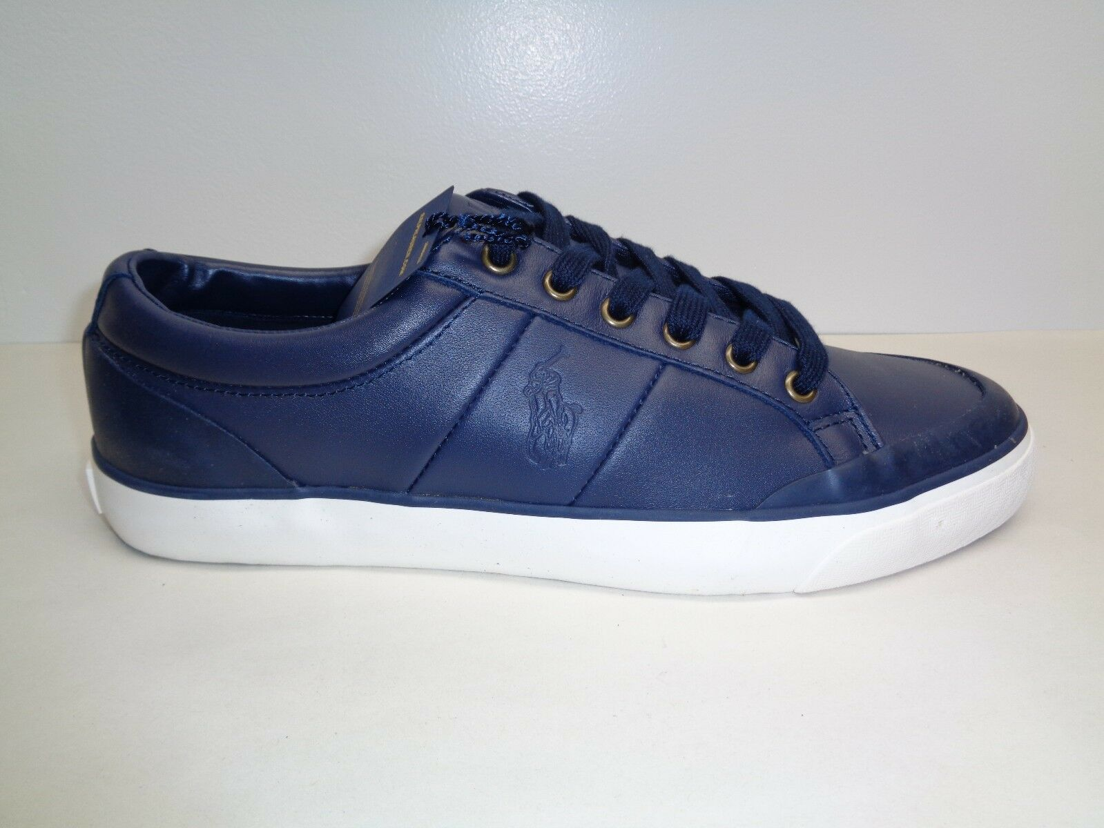 Polo Ralph Lauren Size 8.5 M IAN Navy Leather Fashion Scarpe da Ginnastica New Uomo Shoes