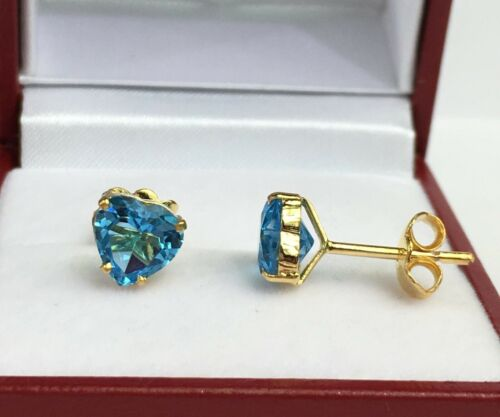 14k Solid Yellow Gold Solitair// One Stone Stud Earrings Heart Blue Topaz