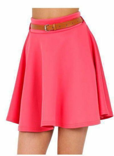 NEW WOMENS LADIES BELTED FLARED JERSEY PLAIN MINI SKATER SKIRT PLUS SIZE 8-22