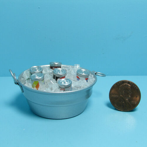 Dollhouse Miniature Tub / Tin Pail Filled with Ice and Soda Cans ~ IM65462