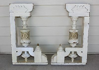 PAIR Victorian Ornate 2 Corbels Architectural Brackets w Carved Finials Antique