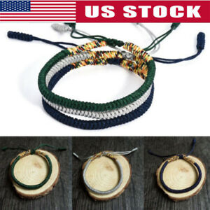 796c74dc09 Image is loading Tibetan-Buddhist-Handmade-Knots-Lucky-Rope-Bracelet-Rope-