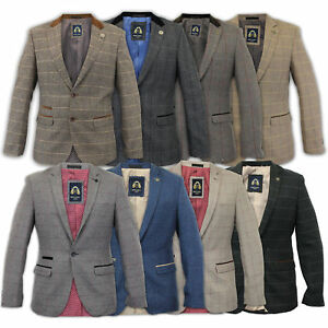 Mens-Blazer-Marc-Darcy-Wool-Look-Coat-Formal-Dinner-Check-Jacket-Patch-Lined-New