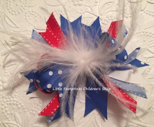 """Red White /& Blue Feather Hair Bow 5/"""" Patriotic 4th of July"""