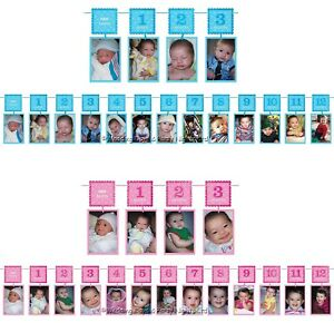 12ft 1st Birthday First 12 Months Photo Garland Banner Party Bunting