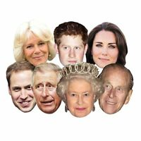 7 Royal Family Party Face Masks Queen Phillip Kate William Harry Charles Camilla