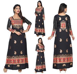 UK-STOCK-Women-Printed-Bollywood-Kurti-Tunic-Kaftan-Top-Black-Dress-KFT101A