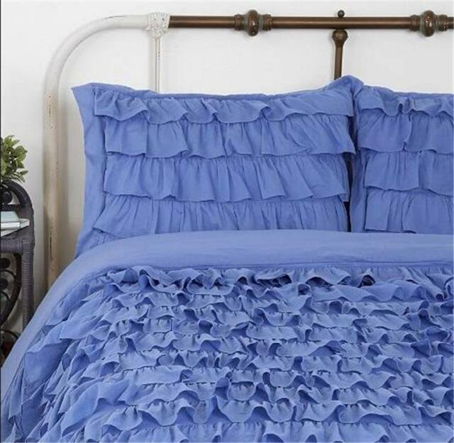 Shabby Violet Blue French Province Chic Ruffles Queen Duvet Doona Quilt Cover Nw