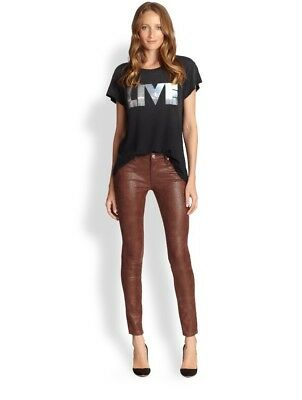 NWT $179 7 For All Mankind Ankle Skinny Velvet Pants Boysenberry Denim 26 27 28