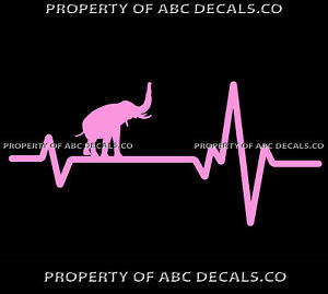VRS-Heart-Beat-Line-ANIMAL-ELEPHANT-Trunk-in-Air-Tusk-Ivory-CAR-VINYL-DECAL