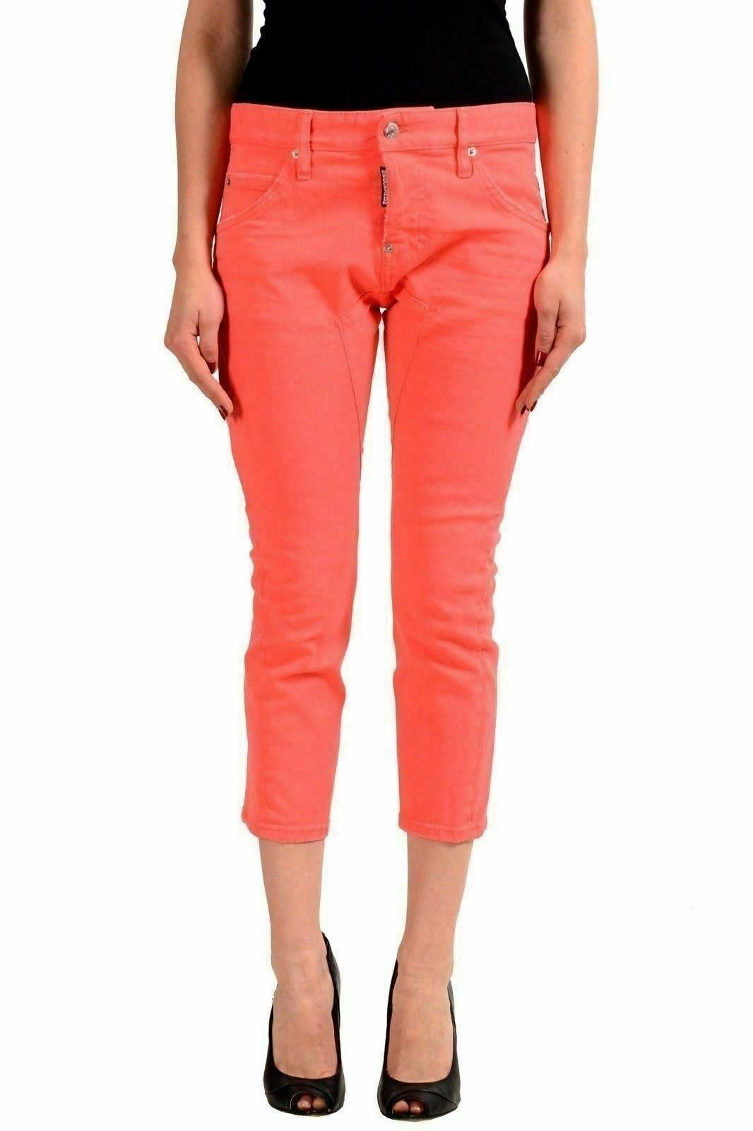 Dsquared2  Icon Jean  Pink Women's Skinny Cropped Jeans US XS IT 38