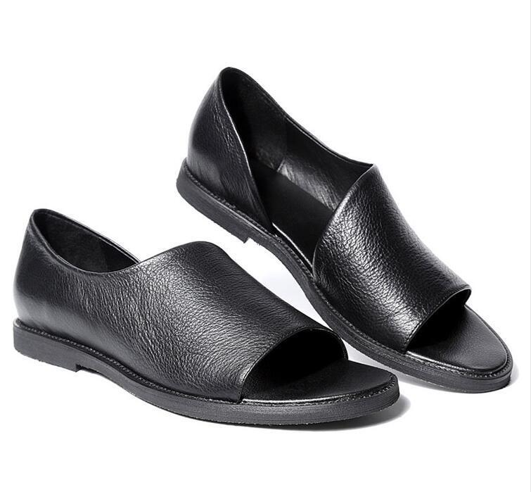 British Style Uomo Pelle Roma Flats Slip On Loafers Sport Summer Sandals Shoes