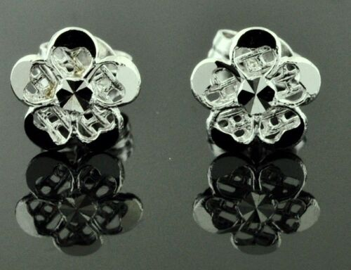 18k solid white gold flower earring earrings diamond cut  stud 1.50 grams #4254