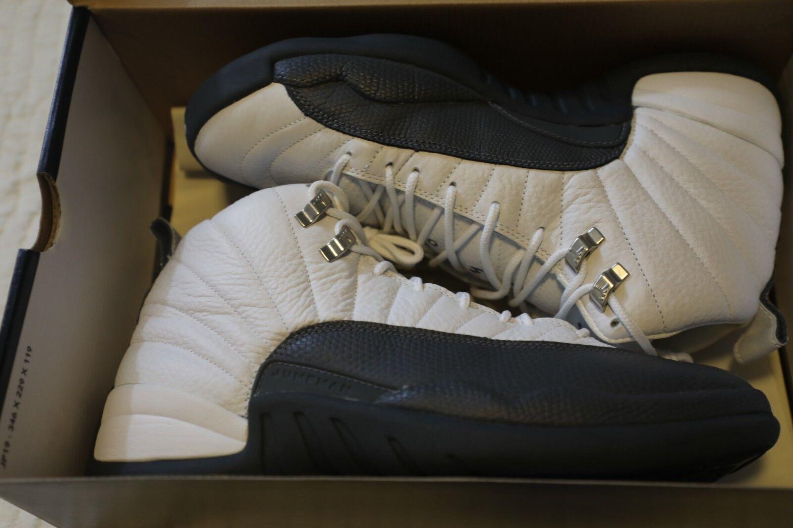 88ed508f699 Nike Air Jordan XII 12 Retro Black White Gold Men Shoes 136001 016
