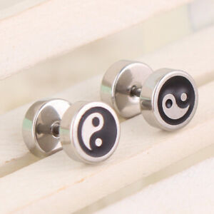 MEN-039-S-BOY-039-S-COOL-DEGAGE-BARBELL-PUNK-GOTHIC-STAINLESS-STEEL-EAR-STUDS-EARRINGS
