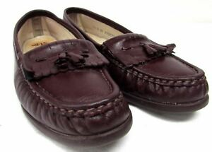 SAS-women-039-s-size-7-5-M-leather-flats-comfort-kilt-tassles-loafer-shoes-maroon