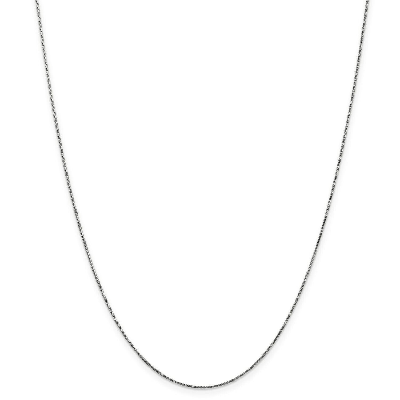14k White gold 0.65mm Diamond Cut Spiga Pendant Chain w  Lobster Clasp 16  - 30
