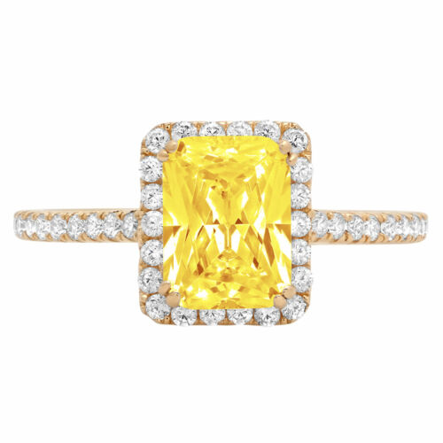 Details about  /1.98ct Emerald Yellow Stone 18k Yellow Gold Halo Statement Wedding Bridal Ring