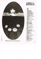 PUBLICITE  1978   ALEXIS  BARTHELAY  montres à quartz