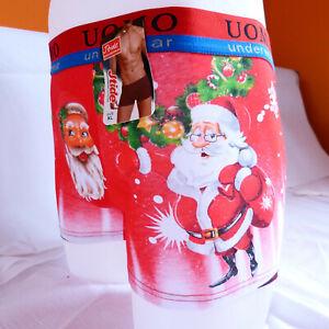 Funny-Red-Xmas-Christmas-Gift-Santa-Cotton-Mens-Boxer-Shorts-Trunks-L-XL-2XL-3XL