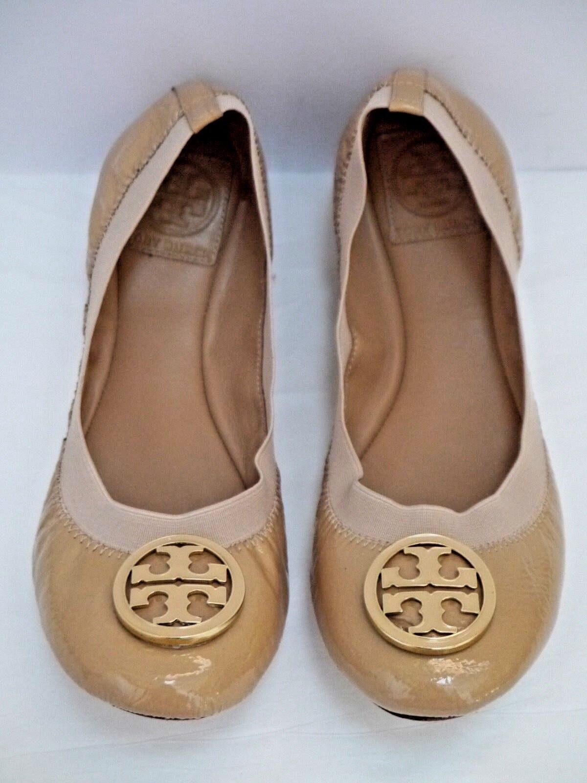 TORY BURCH Caroline nude patent leather logo toe detail ballet flats 8 WORN ONCE