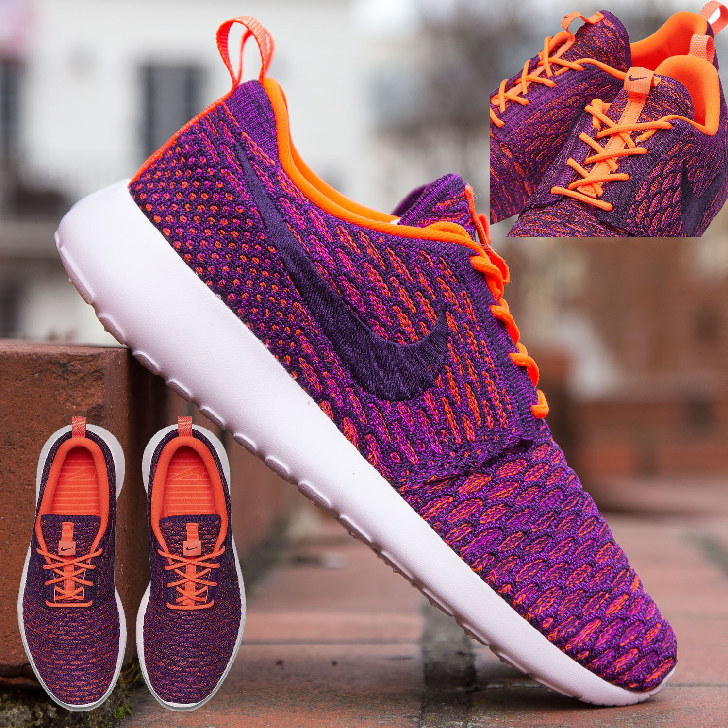 NIKE ROSHE ONE FLYKNIT WOMEN's RUNNING TOTAL CRIMSON - VIVID PURPLE - PURPLE NEW
