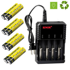 Garberiel-3-7V-6000mAh-Rechargeable-Li-ion-18650-Battery-US-Charger-For-Torch