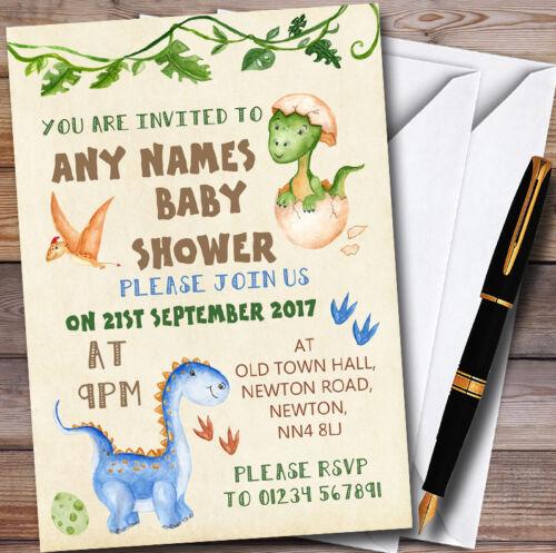 Aquarelle Mignon Dinosaure Garçon Personnalisé Baby Shower Invitations