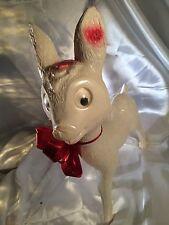 "Large 12"" Vintage White Christmas Reindeer / Italy"