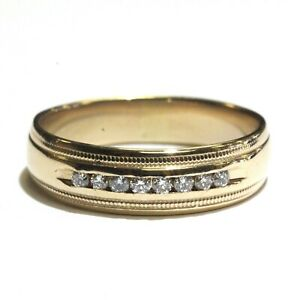 14k-yellow-gold-24ct-SI2-H-diamond-milgrain-mens-wedding-band-ring-6-3g-gents