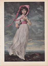 """1939 Vintage """"PINKIE"""" A PINK GIRL by THOMAS LAWRENCE Color Art Plate Lithograph"""