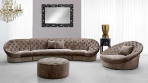 Details about Luxury Modern Beige Fabric Crystals Tufted Sectional Sofa  Set3 Soflex Miami Mini