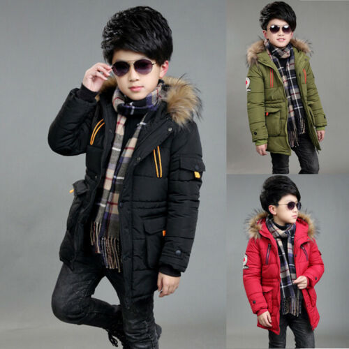 Kinder Jungen Gesteppte Puffer Mantel Jacke Kapuze Parka Warme Winter Outwear