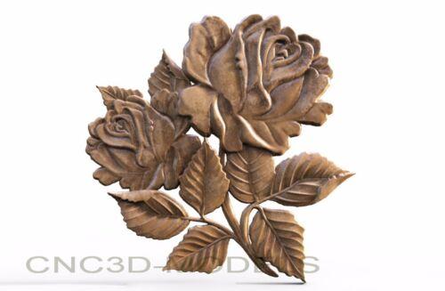 3D Model STL for CNC Router Engraver Carving Artcam Aspire Flowers Rose v364