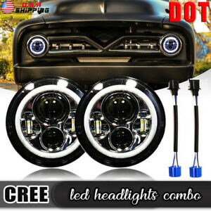 7 Inch LED Halo Headlights for Jeep Wrangler JK TJ LJ CAR TRUCK Hi//Lo Beam with DRL Angel Eyes 2PCS H6014 H6015 H6017 H6024