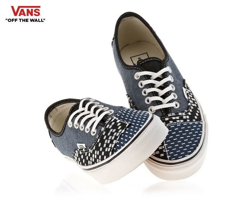 VANS VANS VANS Authentic Patchwork Denim bluee Street Style Fashion Sneakers,shoes Men's 30fc61