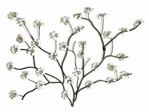 Large Metal Wall Art Decor Picture White Flower Blossom Tree Ebay