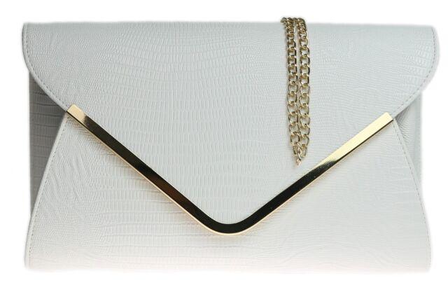 Croc Print Clutch Bag Faux Leather Designer Glitz Evening Bag Plain Envelope
