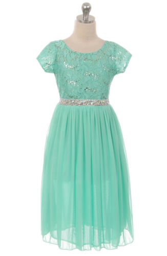 New Girls Mint Lace Chiffon Dress Wedding Party Easter Birthday Sequins 6435