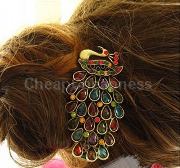 Girl Vintages Pfau Schwanz Strass Pfau Haarspange Haarnadel Haarspange mode  FBB