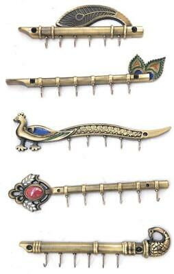 Solid Flute Peacock Wall Ring Key Holder Antique Brass Finish Home Office Decor