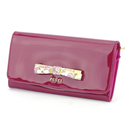 EMILIO PUCCI Purse ribbon pink enamel Leather Auth