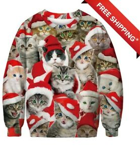 Kitten Christmas Sweater.Details About Us Stock New Christmas Kitten Kitty Cat Cute Pullover Ugly Christmas Sweater