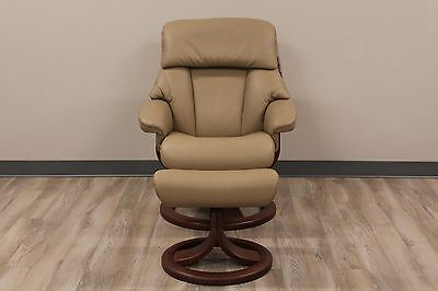 Fjords Alfa Small Recliner and Ottoman in AstroLine Tan with Chocolate Base | eBay