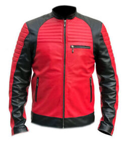 Men-039-s-Quilted-Red-and-Black-Faux-Leather-Biker-Motorcycle-Jacket
